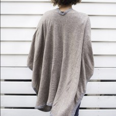 Cashmere Cape - Brown with grey border
