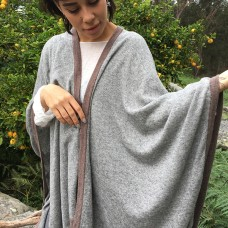 Cashmere Cape - Grey with Brown Border