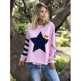 Hammill & Co Raw edge pink sweat with navy star