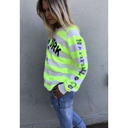Hammill & Co New York 3 striped cotton sweater  - neon yellow & natural