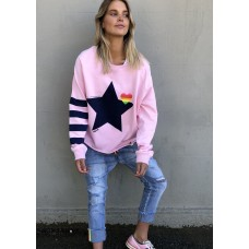 Hammill & Co Raw edge pink sweat with navy star