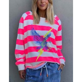 Hammill & Co Eagle cotton sweater - pink & natural stripes