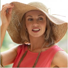 Crocheted Raffia Hat - Wide Brim - Tea Colour