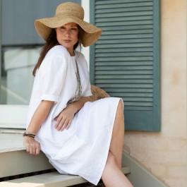 Crocheted Raffia Hat - Wide Brim - Tea Colour