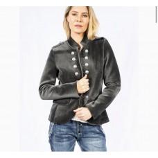 Italian Military Velvet Jacket - Charcoal
