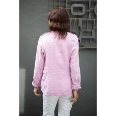 Italian Star Military Style Linen Jacket - Pink