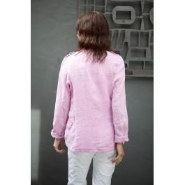 Italian Military Style Linen Jacket - Pink