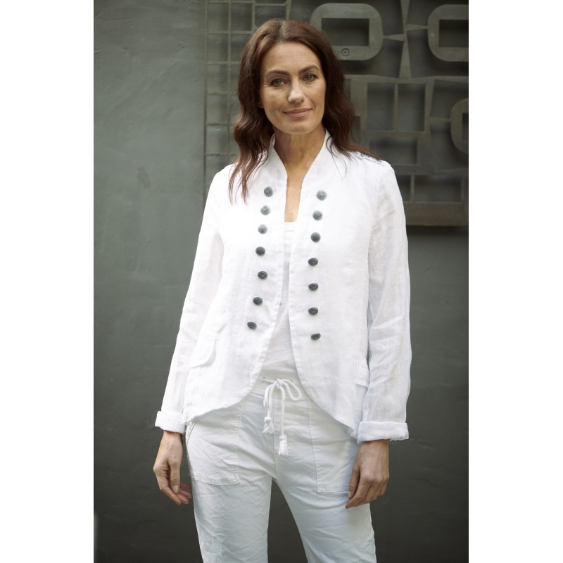 Italian Military Style Linen Jacket - White