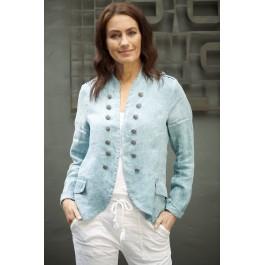 Italian Military Style Linen Jacket - Teal