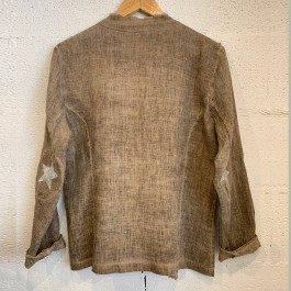 Italian Linen Star Jacket - Coffee Brown