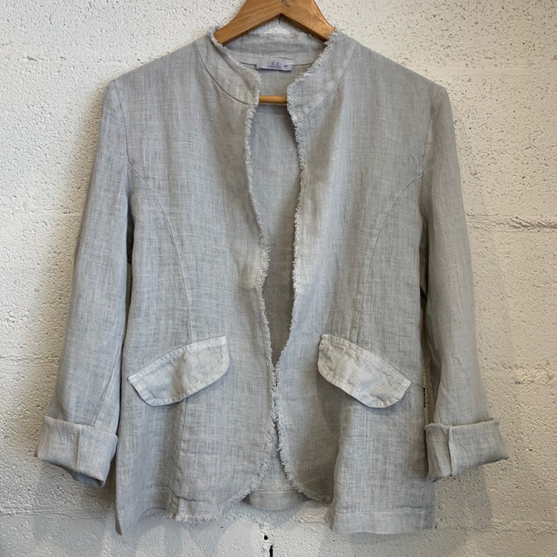 Italian Linen Star Jacket - Grey