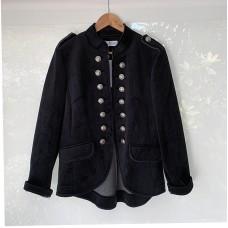 Italian Military Velvet Jacket - Black