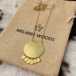 Gold Sun Tassle Drop Necklace