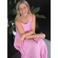 Carley dress - pink linen