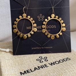 Gold Round Bubble Drop Earrings