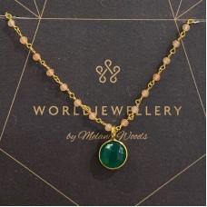 Euro Gold Green Onyx Gemstone / Rose Quartz Chain Necklace