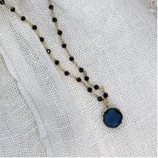 Euro Gold Blue Topaz / Onyx Gemstone Chain Necklace