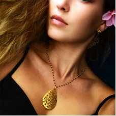 Euro Gold Jali Drop Necklace