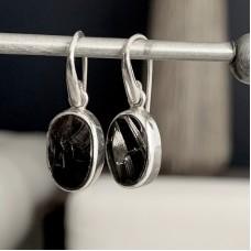 Sterling Silver Shungite Stone Earrings