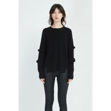 Ruffle Sleeve Knit - Black