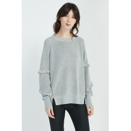 Ruffle Sleeve Knit - Black