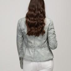 Kate Biker Leather Jacket - GREY- Lambskin leather
