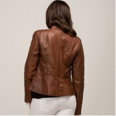 Kate Biker Leather Jacket - TAN- Lambskin leather