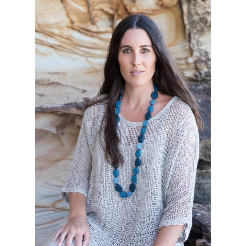 Beaded jewellery in blue marble - sustainable jewellery