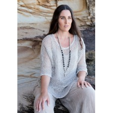 Beaded necklace with ivory cross - sustainable jewellery