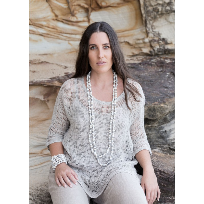 Beaded necklace silver seeds - sustainable jewellery