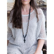 Beaded necklace with black cross - sustainable jewellery