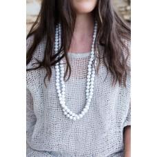 Beaded necklace  white - sustainable jewellery