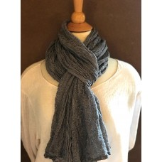 Linseed Designs - Grey - hand loomed linen gauze scarf