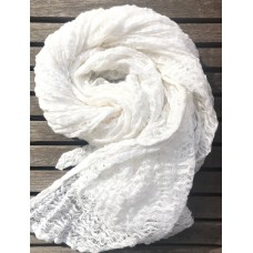 Linseed Designs - White - hand loomed linen gauze scarf
