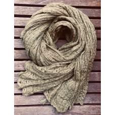 Linseed Designs - Khaki - hand loomed linen gauze scarf