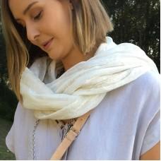 Linen Scarf - Cream Stripe - 100% linen