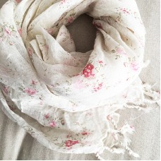 Linen Scarf - Floral Pink - 100% linen