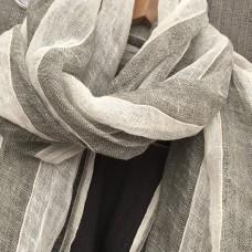 Linen Scarf - Grey Stripe - 100% linen