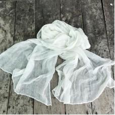 Linen Scarf - White - 100% linen