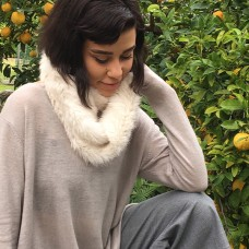 Rabbit Fur Snood/Scarf - Cream