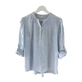 Linseed Designs linen shirt - Vera  - White/blue pin stripe