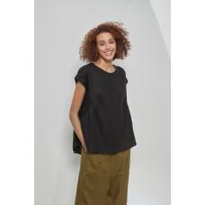 Tirelli cap sleeve gather top - black