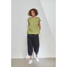 Tirelli cap sleeve gather top - meadow green