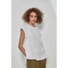 Tirelli cap sleeve gather top - white