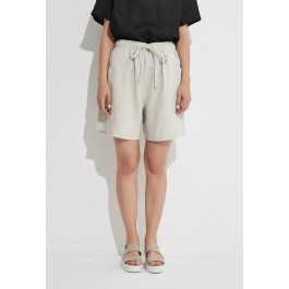 Tirelli classic shorts in linen - neutral