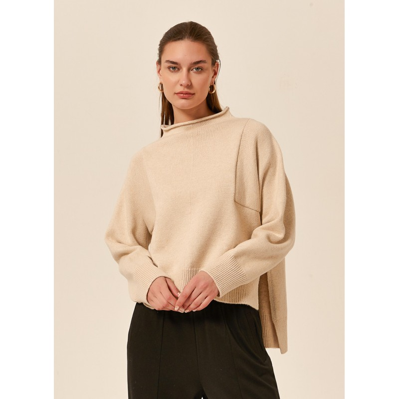 Tirelli high neck relaxed fit cotton blend jumper - cream