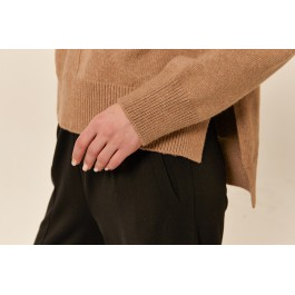 Tirelli high neck relaxed fit cotton blend jumper  - coffee