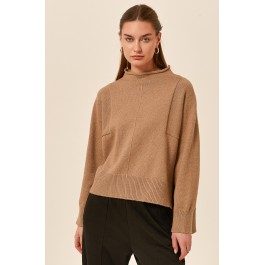 Tirelli high neck relaxed knit - coffee