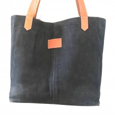 WAXED Canvas Tote Bag - Charcoal - Leather Straps