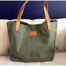 Canvas Tote Bag - OLIVE GREEN - Leather Straps
